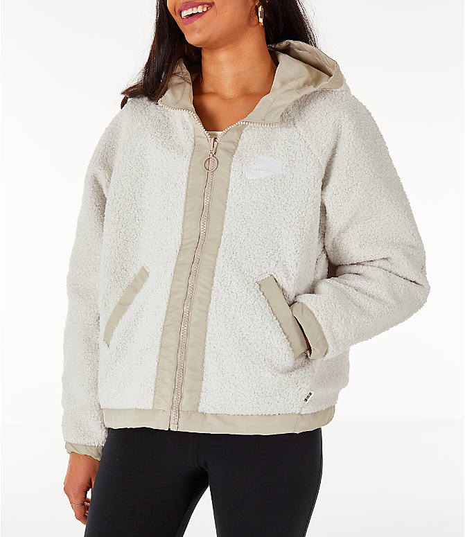 Front view of Women's Nike Sportswear Reversible Sherpa Full-Zip Jacket in Phantom White