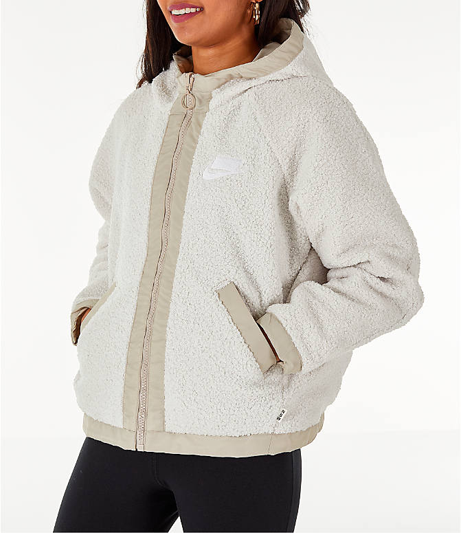 Front Three Quarter view of Women's Nike Sportswear Reversible Sherpa Full-Zip Jacket in Phantom White