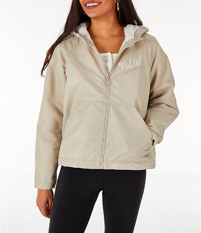 Back Left view of Women's Nike Sportswear Reversible Sherpa Full-Zip Jacket in Phantom White