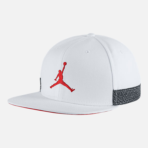 Front view of Unisex Jordan Jumpman Pro AJ Retro 3 Snapback Hat in White/Habanero Red