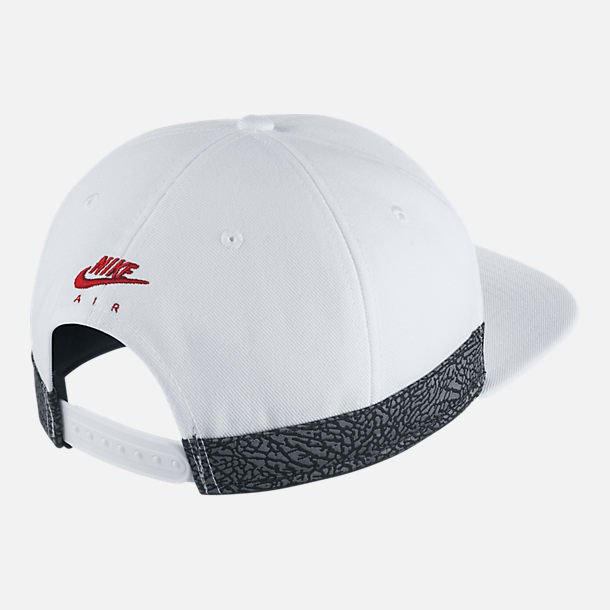 Back view of Unisex Jordan Jumpman Pro AJ Retro 3 Snapback Hat in White/Habanero Red