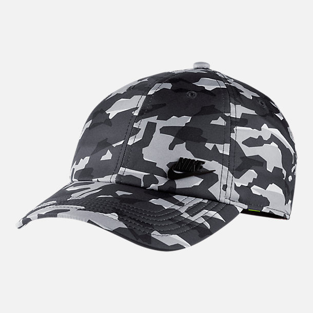 Front view of Unisex Nike Sportswear Heritage86 Metal Logo Adjustable Hat in Grey/Black Camo Print