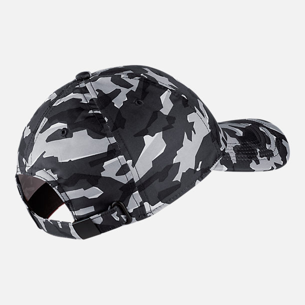 Back view of Unisex Nike Sportswear Heritage86 Metal Logo Adjustable Hat in Grey/Black Camo Print