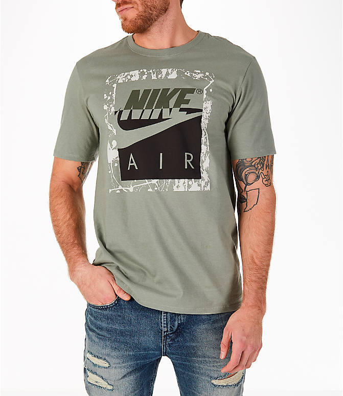 Front view of Men's Nike Sportswear HBR T-Shirt in Dark Stucco/Cargo Khaki