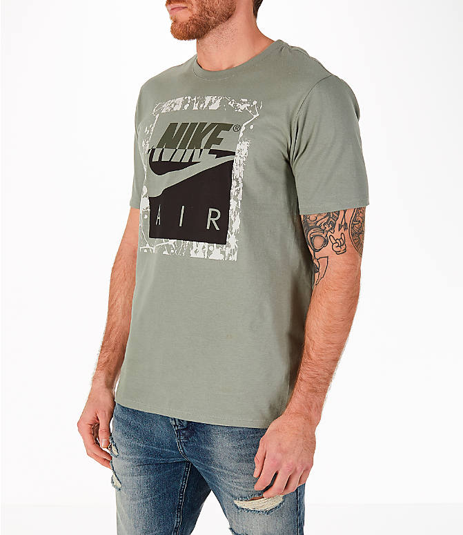 Front Three Quarter view of Men's Nike Sportswear HBR T-Shirt in Dark Stucco/Cargo Khaki