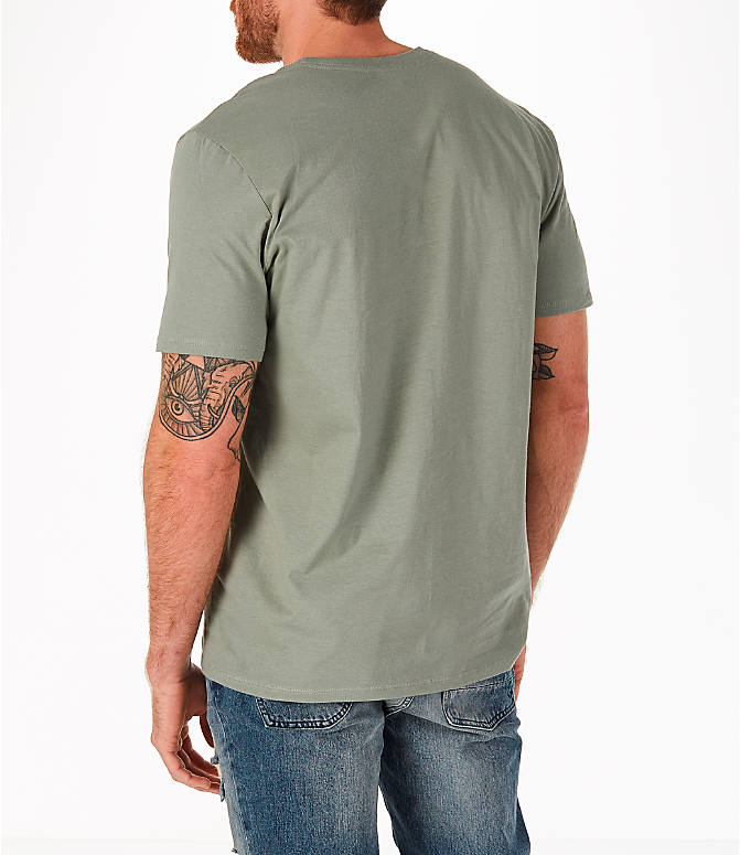 Back Left view of Men's Nike Sportswear HBR T-Shirt in Dark Stucco/Cargo Khaki