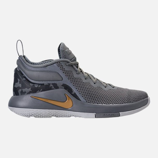 Right view of Men's Nike LeBron Witness II Basketball Shoes in Cool Grey/Metallic Gold/Pure Platinum