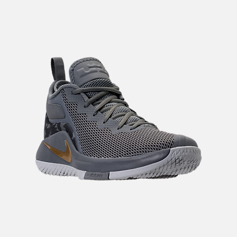 Three Quarter view of Men's Nike LeBron Witness II Basketball Shoes in Cool Grey/Metallic Gold/Pure Platinum