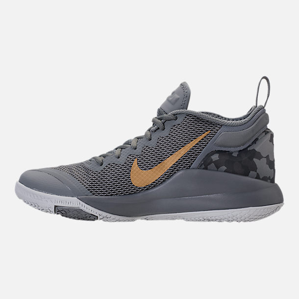 Left view of Men's Nike LeBron Witness II Basketball Shoes in Cool Grey/Metallic Gold/Pure Platinum