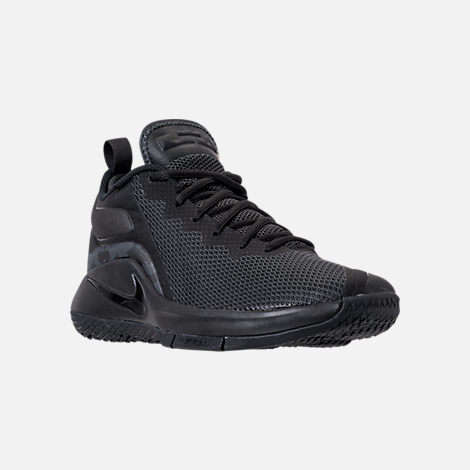 Three Quarter view of Men's Nike LeBron Witness II Basketball Shoes in Black/Black/Anthracite