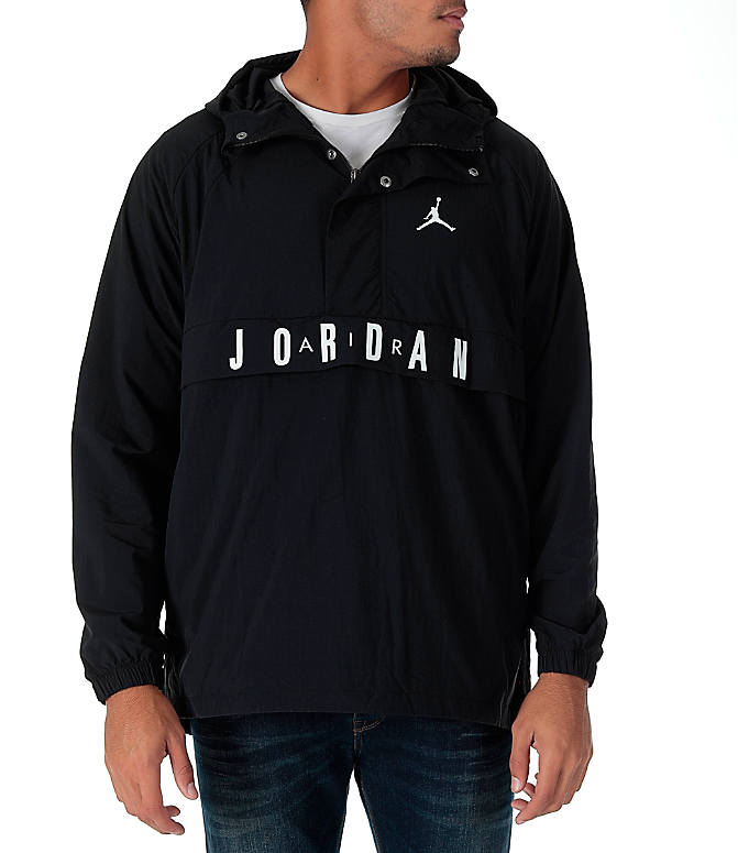 Front view of Men's Air Jordan Anorak Wings Wind Jacket in Black/White