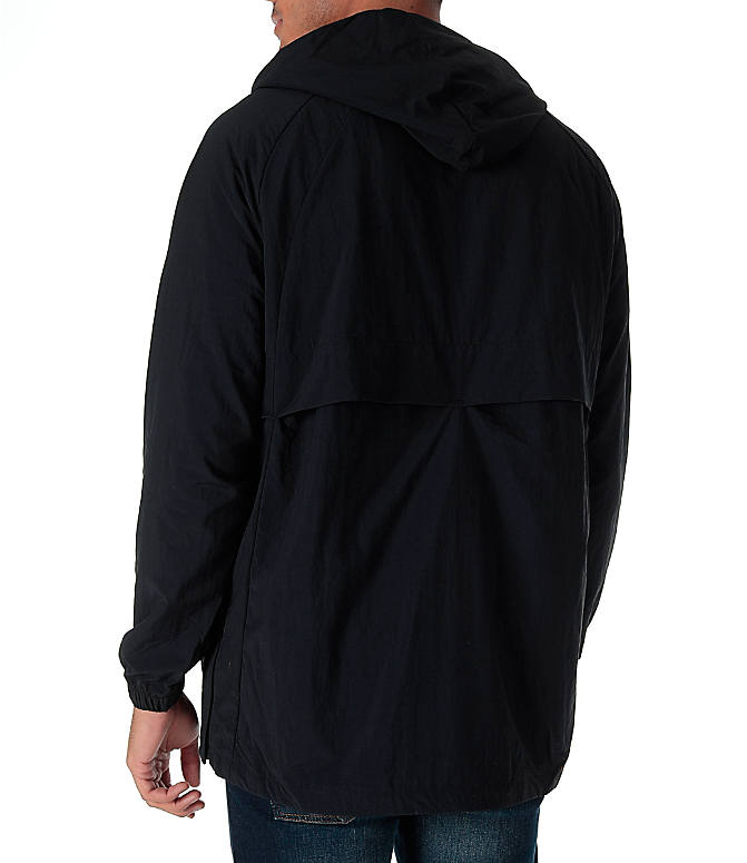 Back Left view of Men's Air Jordan Anorak Wings Wind Jacket in Black/White