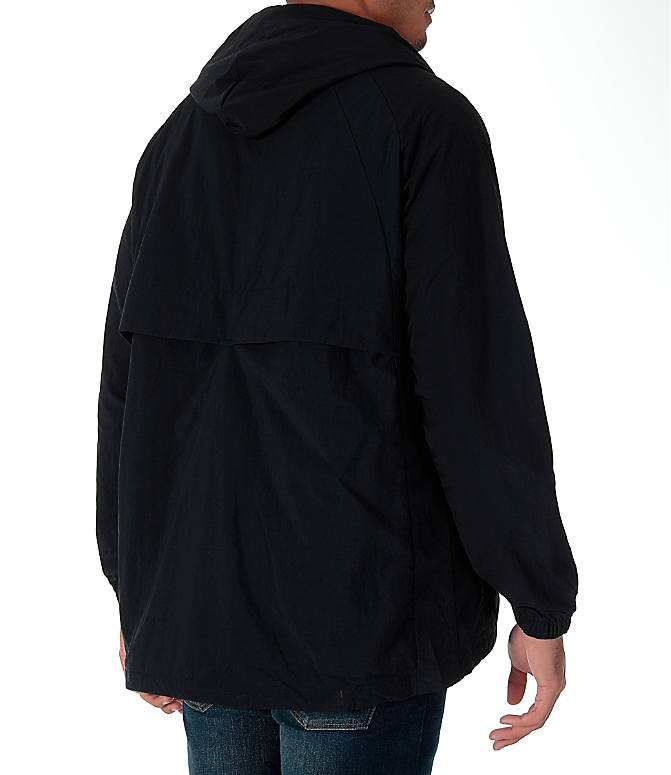 Back Right view of Men's Air Jordan Anorak Wings Wind Jacket in Black/White
