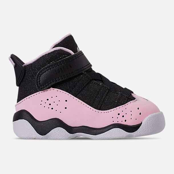 Right view of Kids  Toddler Jordan 6 Rings Basketball Shoes in Black Pink  Foam 1237ee065