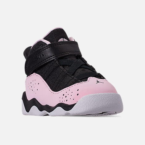 43f69c6e56a6 Three Quarter view of Kids  Toddler Jordan 6 Rings Basketball Shoes in  Black Pink