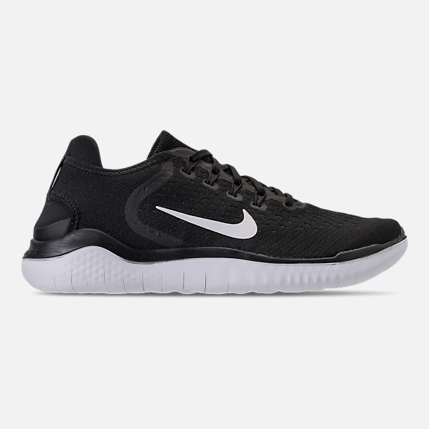 Right view of Men's Nike Free RN 2018 Running Shoes in Black/White