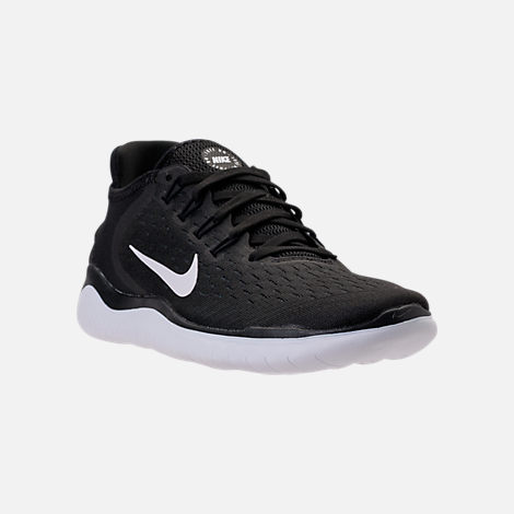Three Quarter view of Women's Nike Free RN 2018 Running Shoes in Black/White