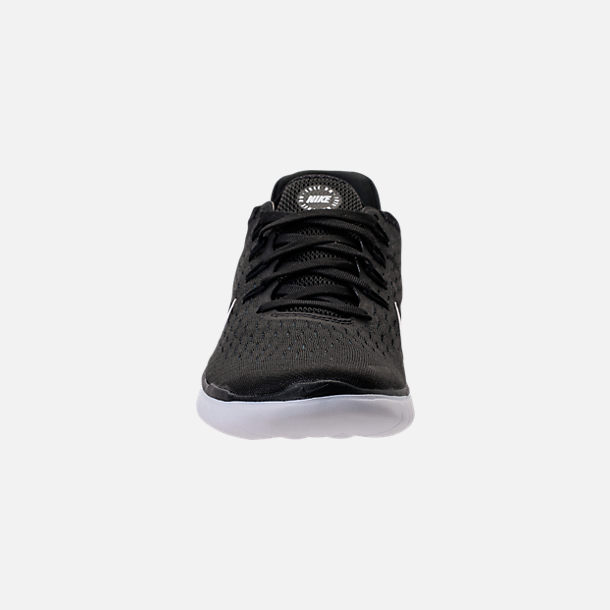 Front view of Women's Nike Free RN 2018 Running Shoes in Black/White