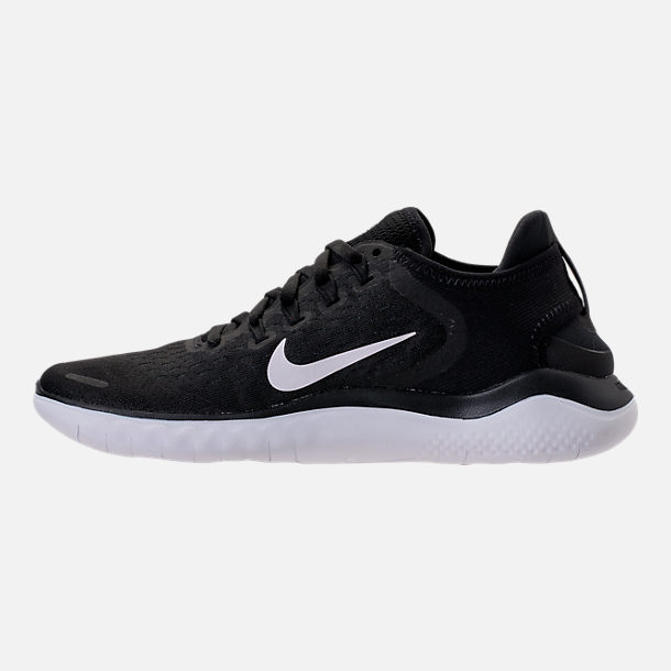Left view of Women's Nike Free RN 2018 Running Shoes in Black/White