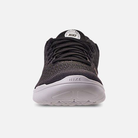 Front view of Women's Nike Free RN 2018 Running Shoes in Black/Metallic Gold/Vast Grey
