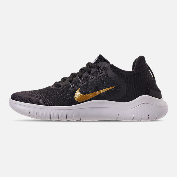 Left view of Women's Nike Free RN 2018 Running Shoes in Black/Metallic Gold/Vast Grey
