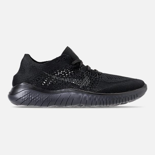 Right view of Men's Nike Free RN Flyknit 2018 Running Shoes in Black/Anthracite