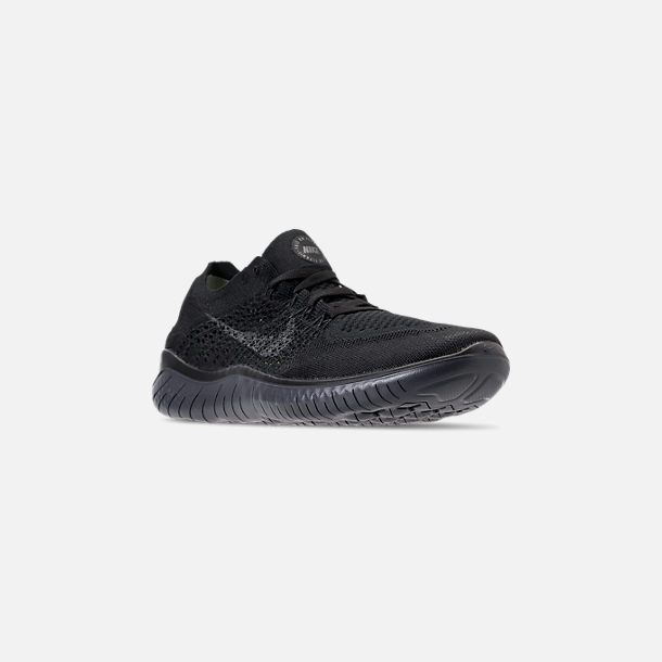 Three Quarter view of Men's Nike Free RN Flyknit 2018 Running Shoes in Black/Anthracite
