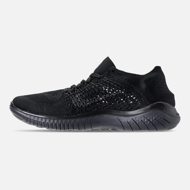 Left view of Men's Nike Free RN Flyknit 2018 Running Shoes in Black/Anthracite