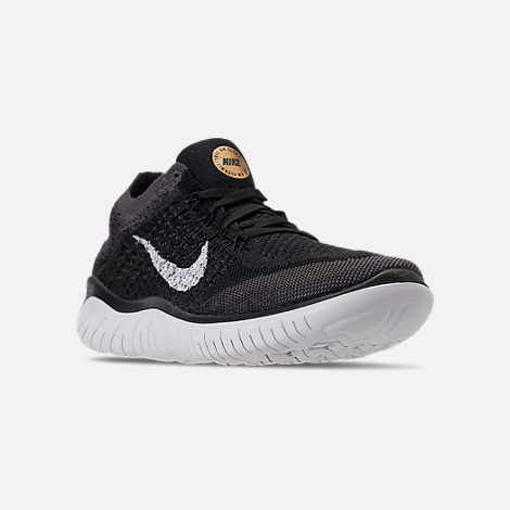 74703cd96fdf6 Three Quarter view of Women s Nike Free RN Flyknit 2018 Running Shoes in  Black Vast
