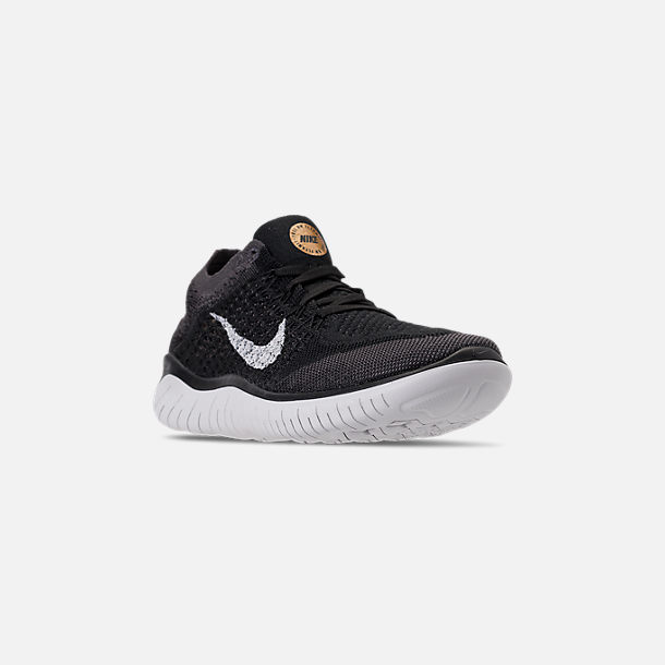 6c0cd00f0f9a Three Quarter view of Women s Nike Free RN Flyknit 2018 Running Shoes in  Black Vast