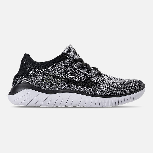 Right view of Women's Nike Free RN Flyknit 2018 Running Shoes in White/Black