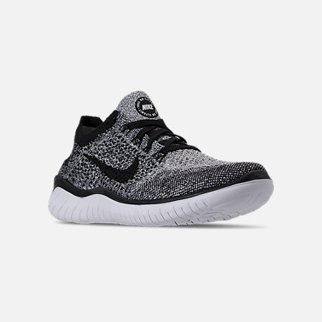 Three Quarter view of Women s Nike Free RN Flyknit 2018 Running Shoes in  White Black f9f40f73aa