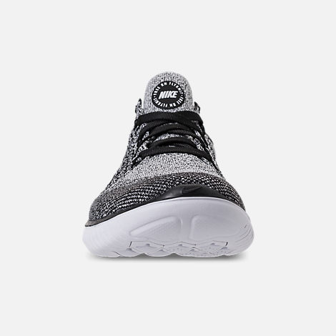 Front view of Women s Nike Free RN Flyknit 2018 Running Shoes in White Black ee85176a47
