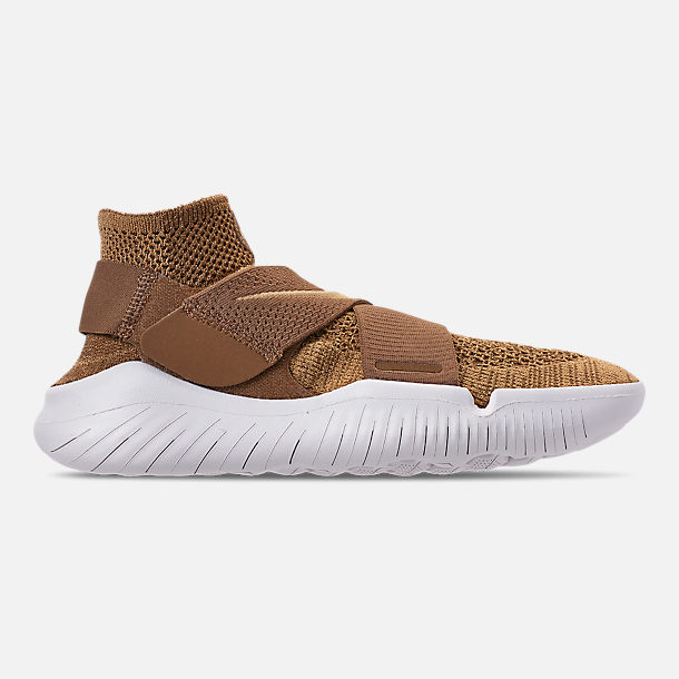 Right view of Men's Nike Free RN Motion Flyknit 2018 Running Shoes in Golden Beige/Club Gold/Burgundy Ash