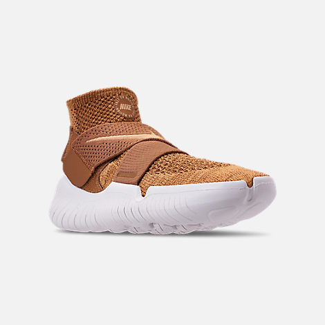 Three Quarter view of Men's Nike Free RN Motion Flyknit 2018 Running Shoes in Golden Beige/Club Gold/Burgundy Ash