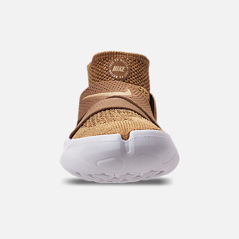 Front view of Men's Nike Free RN Motion Flyknit 2018 Running Shoes in Golden Beige/Club Gold/Burgundy Ash
