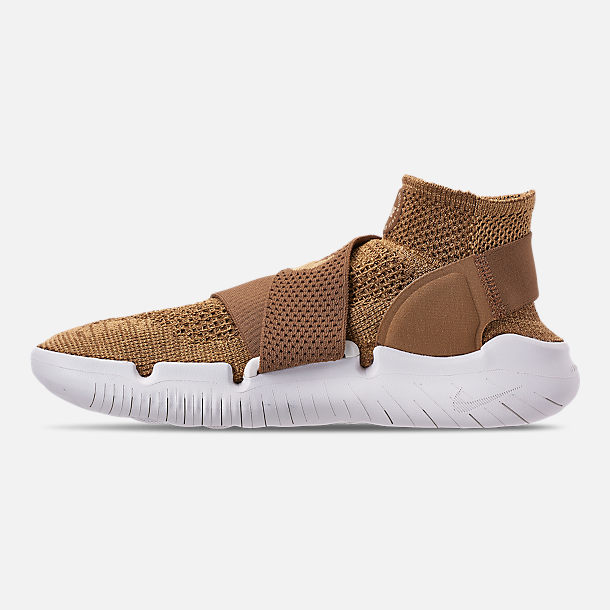 Left view of Men's Nike Free RN Motion Flyknit 2018 Running Shoes in Golden Beige/Club Gold/Burgundy Ash