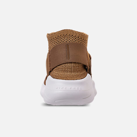 Back view of Men's Nike Free RN Motion Flyknit 2018 Running Shoes in Golden Beige/Club Gold/Burgundy Ash