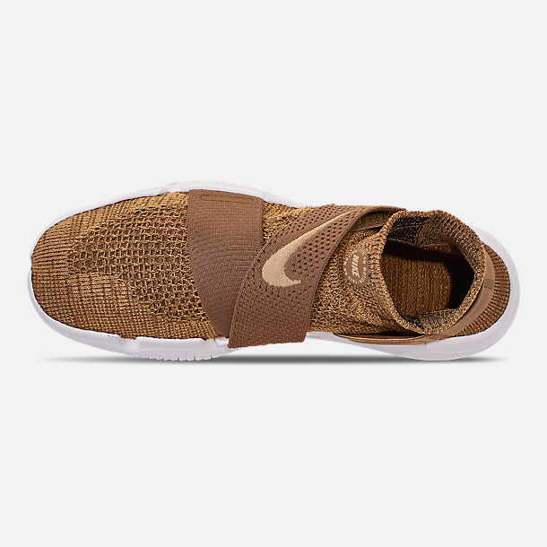 Top view of Men's Nike Free RN Motion Flyknit 2018 Running Shoes in Golden Beige/Club Gold/Burgundy Ash