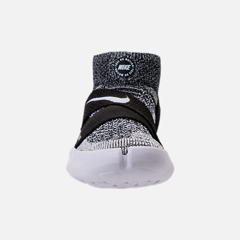 Front view of Women's Nike Free RN Motion Flyknit 2018 Running Shoes in Black/White