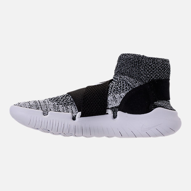 Left view of Women's Nike Free RN Motion Flyknit 2018 Running Shoes in Black/White