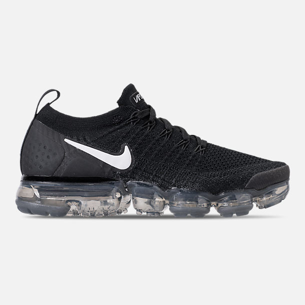 Right view of Men's Nike Air VaporMax Flyknit 2 Running Shoes in Black/White/Dark Grey/Metallic Silver
