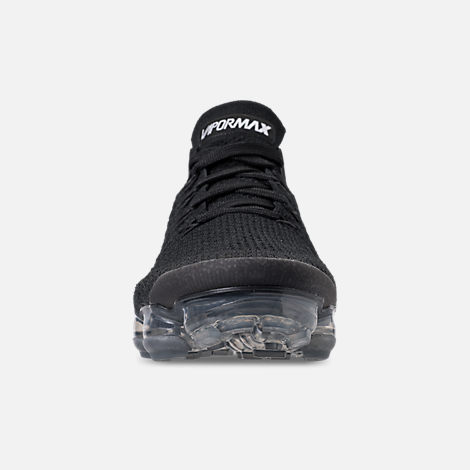 Front view of Men's Nike Air VaporMax Flyknit 2 Running Shoes in Black/White/Dark Grey/Metallic Silver