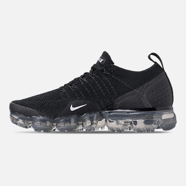 Left view of Men's Nike Air VaporMax Flyknit 2 Running Shoes in Black/White/Dark Grey/Metallic Silver