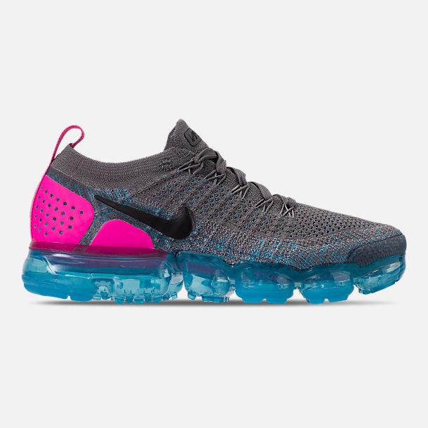 Right view of Men's Nike Air VaporMax Flyknit 2 Running Shoes in Gunsmoke/Black/Blue Orbit/Pink Blast
