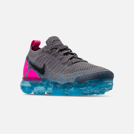 Three Quarter view of Men's Nike Air VaporMax Flyknit 2 Running Shoes in Gunsmoke/Black/Blue Orbit/Pink Blast