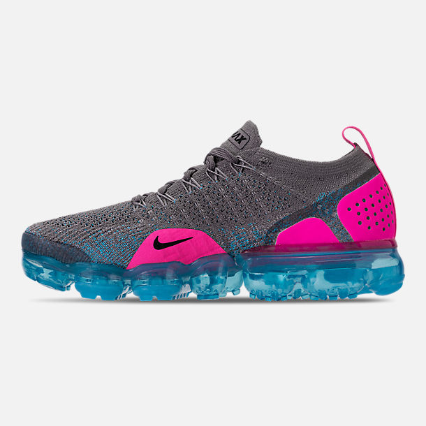 Left view of Men's Nike Air VaporMax Flyknit 2 Running Shoes in Gunsmoke/Black/Blue Orbit/Pink Blast