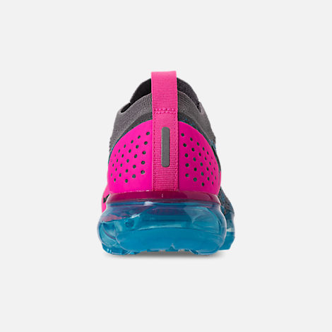 Back view of Men's Nike Air VaporMax Flyknit 2 Running Shoes in Gunsmoke/Black/Blue Orbit/Pink Blast