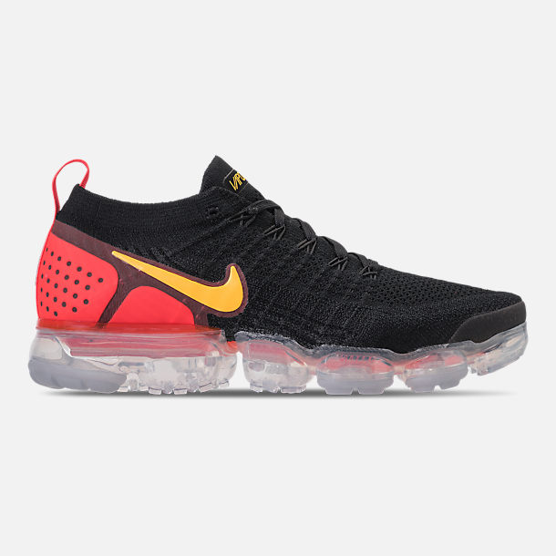 Right view of Men's Nike Air VaporMax Flyknit 2 Running Shoes in Black/Laser Orange/Total Crimson