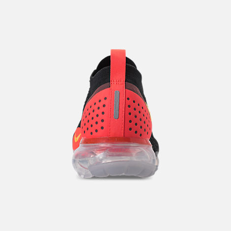 Back view of Men's Nike Air VaporMax Flyknit 2 Running Shoes in Black/Laser Orange/Total Crimson